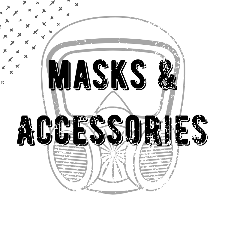 "round button that says ""Masks and Accessories"" over a woodcut print of a gas mask"